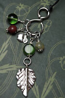 Apple Leaf Charm Pendant with Gemstone Beads- Pagan, Wicca, Witchcraft, Ogham