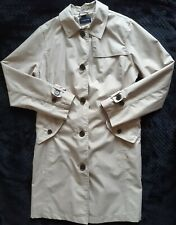 Land's End Womens Medium Beige Trenchcoat Single Breasted Coat M Collared Ladies