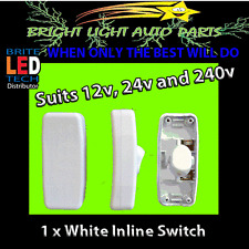 1PC WHITE INLINE ROCKER SWITCH SUITS 12V 24V AND 240V FOR HOME LAMP CAMPING LED