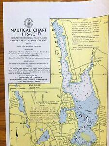 "1970 Nautical Chart Long & Fishers Island Sound Vintage CT Map 32.5""x16.5"" Yello"