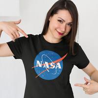 NASA Logo Womens T Shirt Space Astronaut Vintage Style Retro Classic Tee Black
