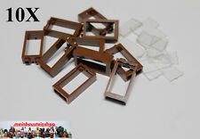 10X Lego® 60593 / 60602 Fenster Window mit Scheibe 1X2X3 Rotbraun Red. Brown NEU