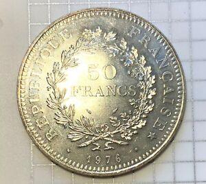 France Silver 50 Francs Hercules - 1976 - Pristine & Flashy Giant Modern Crown!!