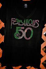 50 & Fabulous Birthday Rhinestone shirt S M L XL XXL1X 2X 3X 4X 5X AKA pink gree