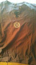Medieval Linen Shirt, Navy Blue, Asian 4Xl
