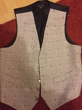 MENS WEDDING SILVER PAISLEY SUIT WAISTCOAT
