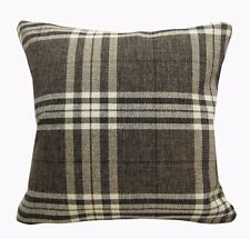 Qa104Aa Brown Rough Linen Blend Check Stripe Cushion Cover/Pillow Case*Cust-Size