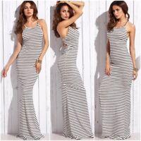 Sexy Long Summer Dresses Women Striped Casual Ladies Spaghetti Strap Maxi Dress