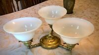 Vintage Victorian, Art Deco Brass Ceiling Fixture and Sconces Ready to Hang