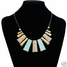 New Fashion Design Beads Enamel Bib Leather Braided Rope Crystal Chain Necklace