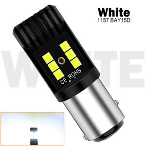2X 1157 2057 White LED Turn Signal Brake Tail Light Bulbs Backup 3030 SMD BAY15D