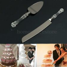 Stainless Steel Wedding Party Cake Knife Server Set Acrylic Crystal Handle