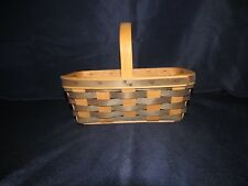 """Vintage 1988 Longaberger Two Tone Basket With Handle 10"""" w x 6"""" x 3.5 tall"""