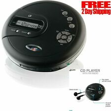 CD Disk Player Portable with Bass Boost Anti-Skip Protection Earbuds FM Radio
