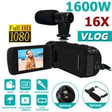 16x Zoom 1080P HD Digital Camcorder Video Vlogging Camera External Mic DV 2.4 in