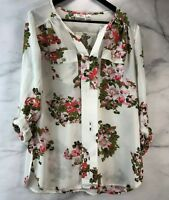 Women's Cato Floral Popover Blouse Long or 3/4 Sleeve Gold Buttons Size S Rayon
