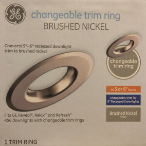 "(lot Of 3) GE Changeable Trim Ring for 5""-6"" Recessed Downlight Brushed Nickel"