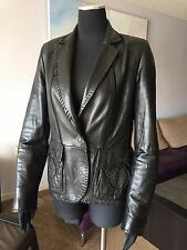 """AUTH SUED MOD BLACK NAPPA LEATHER JACKET WITH """"FIOCCHI ITALY"""" CLOSURE Sz 42 IT"""