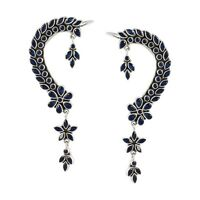 New Collection Silver Synthetic Blue Stone Cuff Earrings Girls Fashion Jewelry