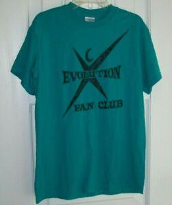 Women's Gildan Dry Blend Teal Short Sleeve T-Shirt/Evolution Fan Club/ Size S
