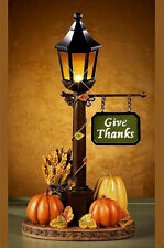 Thanksgiving Tabletop Lamp Post Lighted Lantern Fall Pumpkin Autumn Home Decor