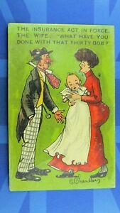 Political Comic Postcard 1913 Lloyd George Insurance Act Maternity Benefit 30/-