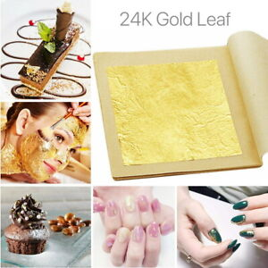 24K Pure Edible Gold Leaf Real Genuine Leaves Sheet Food Craft Mask SPA Gilding