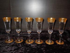 6 Sektgläser Gläser Saint Louis Frankreich Thistle Gold
