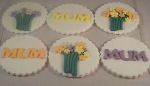6 Mum Birthday Mothers Day Cupcake Toppers Handmade Fondant Sugarpaste