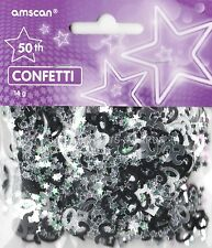 1 PACK 50TH BIRTHDAY CONFETTI / TABLE SPRINKLES BLACK & SILVER DECORATIONS