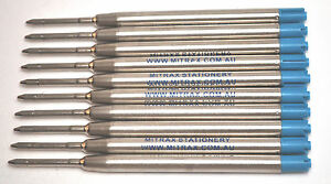 10 Blue Mitrax brand ballpoint refills 0.7mm point compatible with Parker pens