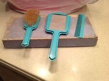 Vintage Childs Dresser Vanity Set Mirror Comb Brush W/ Box Turquoise Blue 1930's