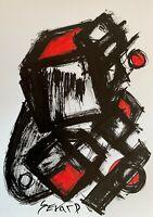 SEVARD Abstrakte Komposition Gemälde Zeichnung A4 Original Signiert Unikat N476