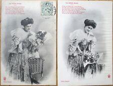 PAIR 1905 Bergeret French Fantasy Postcards: 'Le Billet Doux'  Woman & Note