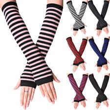 Women Girls Striped Long Arm Sleeve Wrist Warmer Fingerless Gloves Soft Mittens
