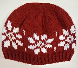 Beanie Knit Hat Winter Stocking Cap Handmade Snowflakes Red White