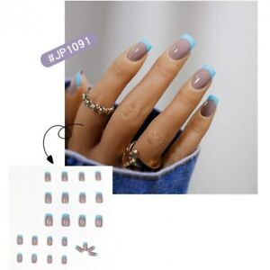 24Pcs Blue Tips Fake Nails Sticker Long Square Full Cover Artificial Nail Tips