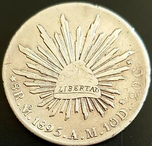 1895 8 REALES MEXICO M.A. SECOND REPUBLIC KM# 377.10 SILVER Very Nice Details!