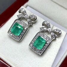 COLOMBIAN! 3.16TCW Emerald VS Diamonds 18K white gold Natural bow earrings stud