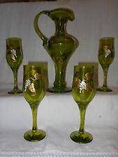 Grande caraffa e 4 bicchieri verdi e dipinti con uva Francia XX Decanter V2