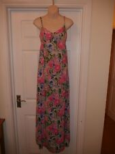 Ladies Pink Maxi Summer Dress Size 10 Divided H&M Floral Print