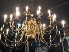 Vintage 24 Arm Brass Colonial Williamsburg Classic Chandelier Early American No1