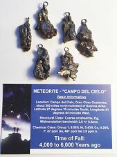 """""""RARE"""" 1 x 5-10 Gram Meteorite Pendant """"Campo Del Cielo"""" with Info/Certificate"""