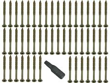 100 Of 4 X 35 Torx - Fast Csk Woodscrew Yzp Easy And An Added Free Bit
