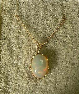 ETHIOPIAN FIRE OPAL 14K GOLD FILLED PENDANT AND CHAIN (stamped)