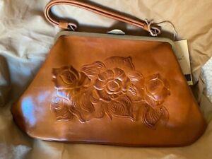 NWT Patricia Nash Macerata Italian Leather Burnished Tooled Collection w/Dustbag