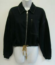TOPSHOP WOMENS COTTON ZIP UP BOMBER JACKET SIZE 6 (XS) BLACK