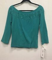 Luna Luz Black or Teal Dyed 3/4 Sleeve Shirt Ruffled Inset Tunic Top Style 115L