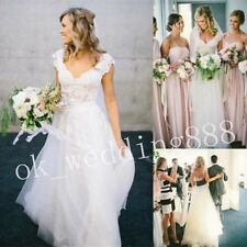 New White/Ivory Lace Beach Wedding Dresses Custom Size 6 8 10 12 14 16 18 20+