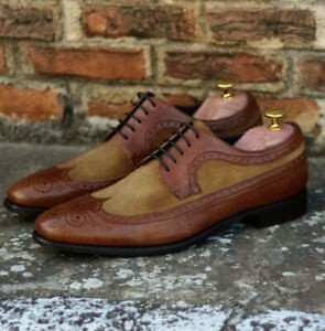 Handmade Men's Brown Heart Medallion Wing Tip Leather & Suede Oxford Shoes